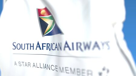 Waving flag with South African Airways logo, close-up. Editorial 3D rendering