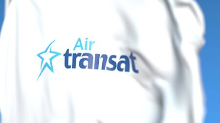 Flying flag with Air Transat logo, close-up. Editorial 3D rendering