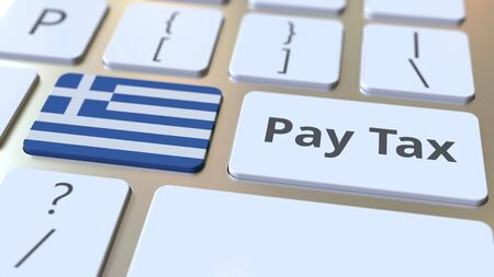 PAY TAX text and flag of Greece on the buttons on the computer keyboard. Taxation related conceptual 3D rendering