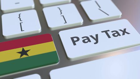 PAY TAX text and flag of Ghana on the buttons on the computer keyboard. Taxation related conceptual 3D rendering Imagens