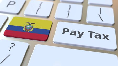 PAY TAX text and flag of Ecuador on the buttons on the computer keyboard. Taxation related conceptual 3D rendering
