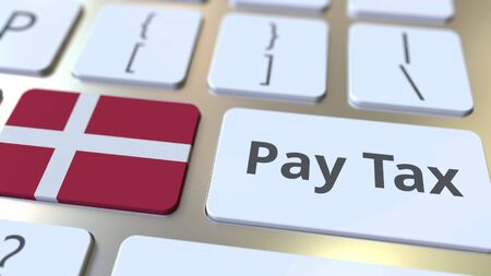 PAY TAX text and flag of Denmark on the buttons on the computer keyboard. Taxation related conceptual 3D rendering