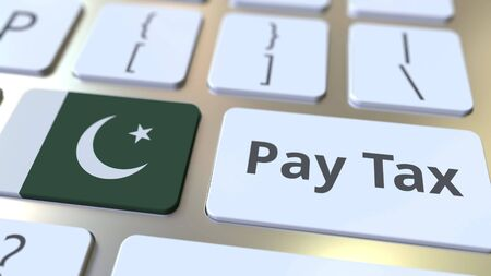 PAY TAX text and flag of Pakistan on the computer keyboard. Taxation related conceptual 3D rendering
