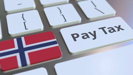 PAY TAX text and flag of Norway on the computer keyboard. Taxation related conceptual 3D rendering