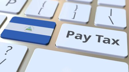 PAY TAX text and flag of Nicaragua on the buttons on the computer keyboard. Taxation related conceptual 3D rendering Imagens
