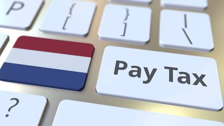 PAY TAX text and flag of the Netherlands on the computer keyboard. Taxation related conceptual 3D rendering