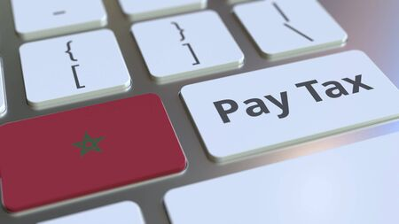 PAY TAX text and flag of Morocco on the computer keyboard. Taxation related conceptual 3D rendering