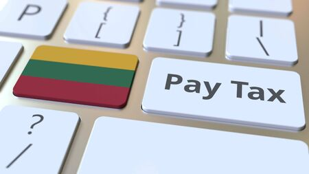 PAY TAX text and flag of Lithuania on the buttons on the computer keyboard. Taxation related conceptual 3D rendering