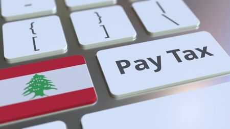 PAY TAX text and flag of Lebanon on the computer keyboard. Taxation related conceptual 3D rendering Imagens