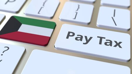 PAY TAX text and flag of Kuwait on the computer keyboard. Taxation related conceptual 3D rendering