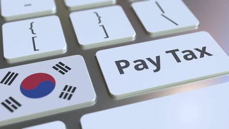 PAY TAX text and flag of South Korea on the buttons on the computer keyboard. Taxation related conceptual 3D rendering Imagens
