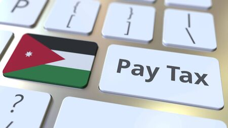 PAY TAX text and flag of Jordan on the buttons on the computer keyboard. Taxation related conceptual 3D rendering Standard-Bild - 129268347