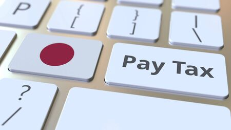 PAY TAX text and flag of Japan on the buttons on the computer keyboard. Taxation related conceptual 3D rendering Imagens