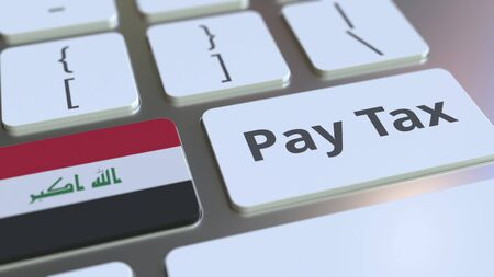 PAY TAX text and flag of Iraq on the buttons on the computer keyboard. Taxation related conceptual 3D rendering