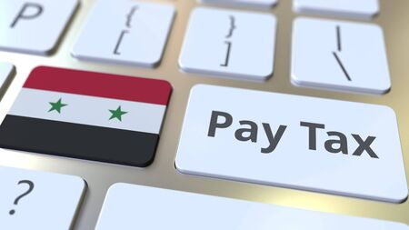 PAY TAX text and flag of Syria on the computer keyboard. Taxation related conceptual 3D rendering