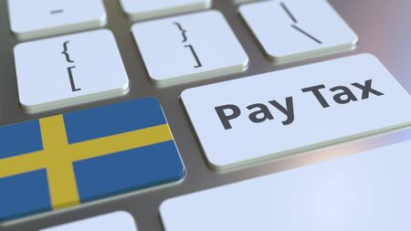 PAY TAX text and flag of Sweden on the computer keyboard. Taxation related conceptual 3D rendering Standard-Bild - 129268316