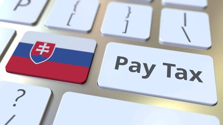 PAY TAX text and flag of Slovakia on the buttons on the computer keyboard. Taxation related conceptual 3D rendering Фото со стока