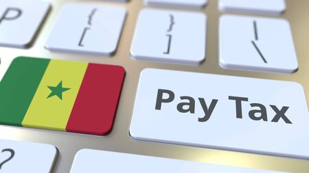 PAY TAX text and flag of Senegal on the computer keyboard. Taxation related conceptual 3D rendering
