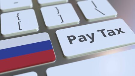 PAY TAX text and flag of Russia on the computer keyboard. Taxation related conceptual 3D rendering Imagens