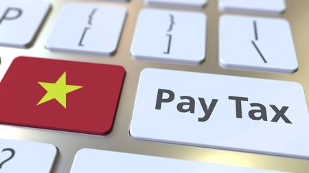 PAY TAX text and flag of Vietnam on the buttons on the computer keyboard. Taxation related conceptual 3D rendering Standard-Bild - 129268282
