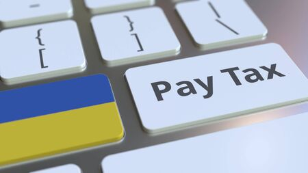 PAY TAX text and flag of Ukraine on the computer keyboard. Taxation related conceptual 3D rendering Standard-Bild - 129268286