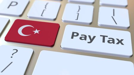 PAY TAX text and flag of Turkey on the computer keyboard. Taxation related conceptual 3D rendering