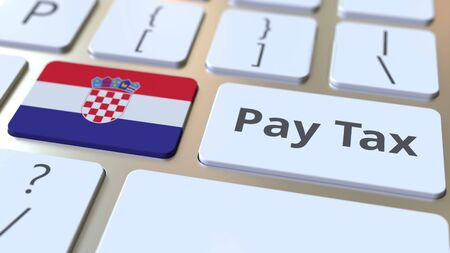 PAY TAX text and flag of Croatia on the buttons on the computer keyboard. Taxation related conceptual 3D rendering Imagens