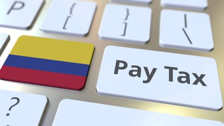PAY TAX text and flag of Colombia on the buttons on the computer keyboard. Taxation related conceptual 3D rendering