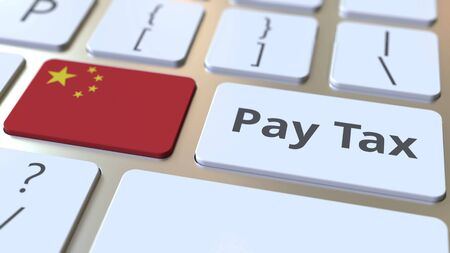 PAY TAX text and flag of China on the buttons on the computer keyboard. Taxation related conceptual 3D rendering Imagens