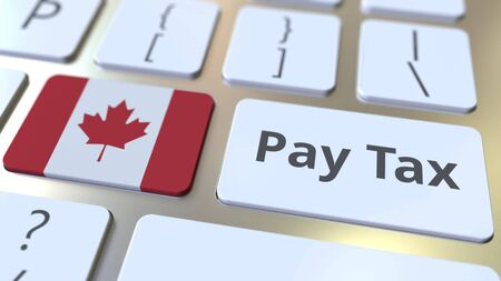 PAY TAX text and flag of Canada on the buttons on the computer keyboard. Taxation related conceptual 3D rendering