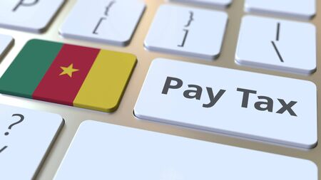 PAY TAX text and flag of Cameroon on the buttons on the computer keyboard. Taxation related conceptual 3D rendering