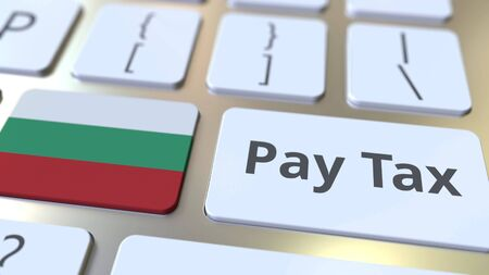PAY TAX text and flag of Bulgaria on the buttons on the computer keyboard. Taxation related conceptual 3D rendering Standard-Bild - 129268303