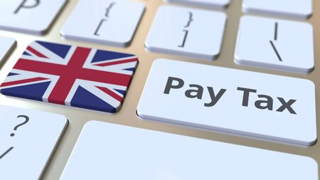 PAY TAX text and flag of Great Britain on the buttons on the computer keyboard. Taxation related conceptual 3D rendering Standard-Bild - 129268262