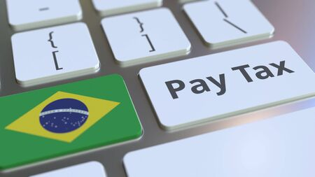 PAY TAX text and flag of Brazil on the buttons on the computer keyboard. Taxation related conceptual 3D rendering Banco de Imagens