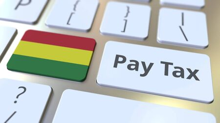 PAY TAX text and flag of Bolivia on the buttons on the computer keyboard. Taxation related conceptual 3D rendering