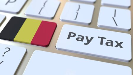 PAY TAX text and flag of Belgium on the buttons on the computer keyboard. Taxation related conceptual 3D rendering Standard-Bild - 129268265