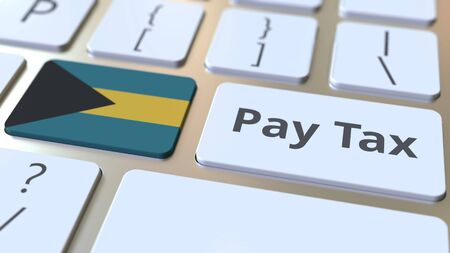 PAY TAX text and flag of Bahamas on the buttons on the computer keyboard. Taxation related conceptual 3D rendering Standard-Bild - 129268270