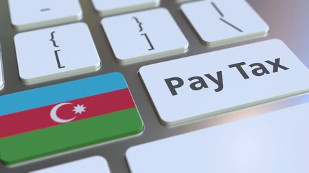 PAY TAX text and flag of Azerbaijan on the buttons on the computer keyboard. Taxation related conceptual 3D rendering Standard-Bild - 129268268