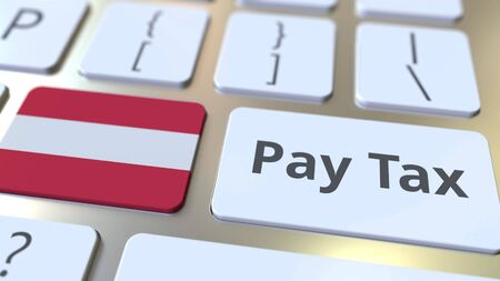 PAY TAX text and flag of Austria on the buttons on the computer keyboard. Taxation related conceptual 3D rendering Standard-Bild - 129268272