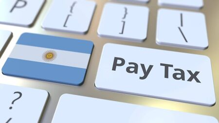 PAY TAX text and flag of Argentina on the buttons on the computer keyboard. Taxation related conceptual 3D rendering