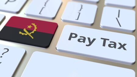 PAY TAX text and flag of Angola on the buttons on the computer keyboard. Taxation related conceptual 3D rendering Banco de Imagens