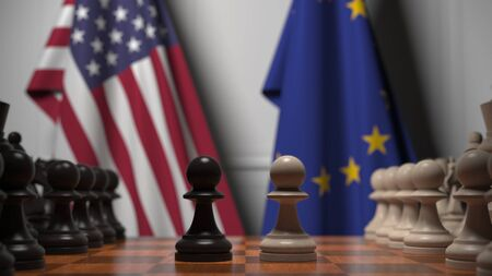 Flags of United States and EU behind chess board. The first pawn moves in the beginning of the game. Political rivalry conceptual 3D rendering Stockfoto