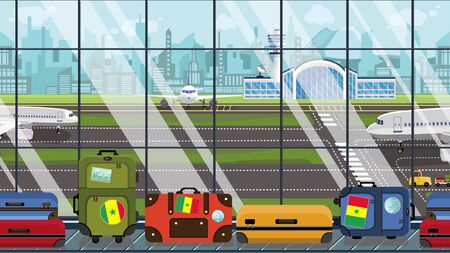 Suitcases with Senegalese flag stickers on baggage carousel in airport. Travel to Senegal conceptual illustration
