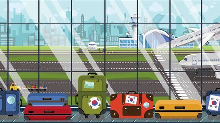 Luggage with Korean flag stickers on carousel in airport. Travel to South Korea related illustration