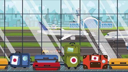 Baggage with Japanese flag stickers on carousel in airport. Travel to Japan related illustration