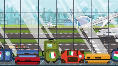 Suitcases with Italian flag stickers on baggage carousel in airport. Tourism in Italy conceptual illustration