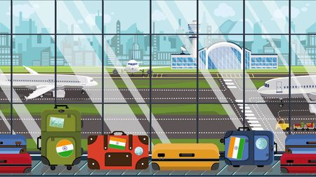 Suitcases with Indian flag stickers on baggage carousel in airport. Tourism in India conceptual illustration