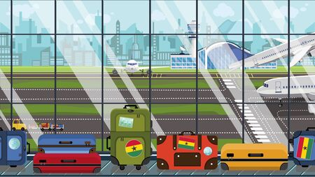 Suitcases with Ghanaian flag stickers on baggage carousel in airport. Travel to Ghana conceptual illustration