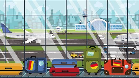 Luggage with Gegman flag stickers on baggage carousel in airport. Tourism in Germany conceptual illustration