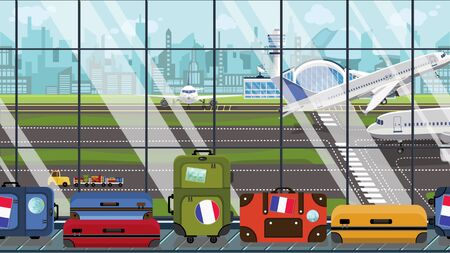 Suitcases with France flag stickers on baggage carousel in airport. French tourism conceptual illustration
